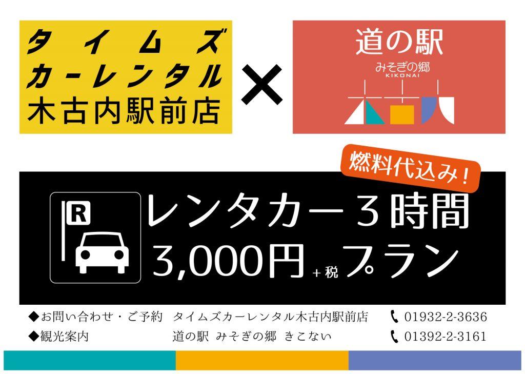 レンタカー3時間3,000円プラン 2018-2019シーズンも継続決定!