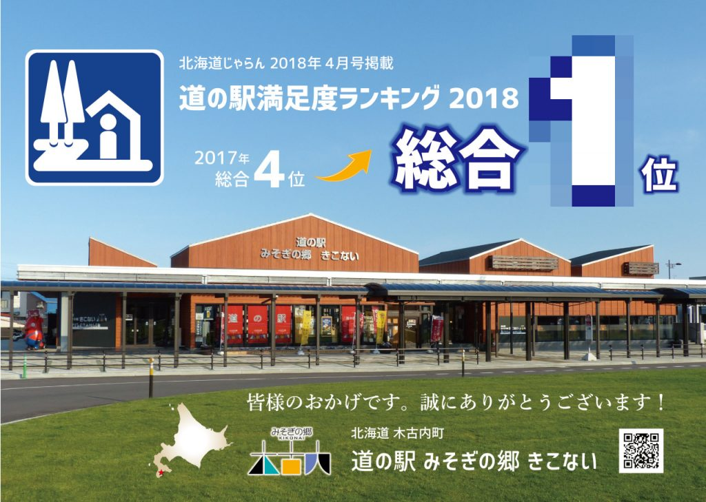 【おかげさまで】北海道じゃらん「道の駅 満足度ランキング2018」で総合1位!