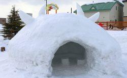 【雪が多い木古内】かまくらでお汁粉!ミニ滑り台もあるよ
